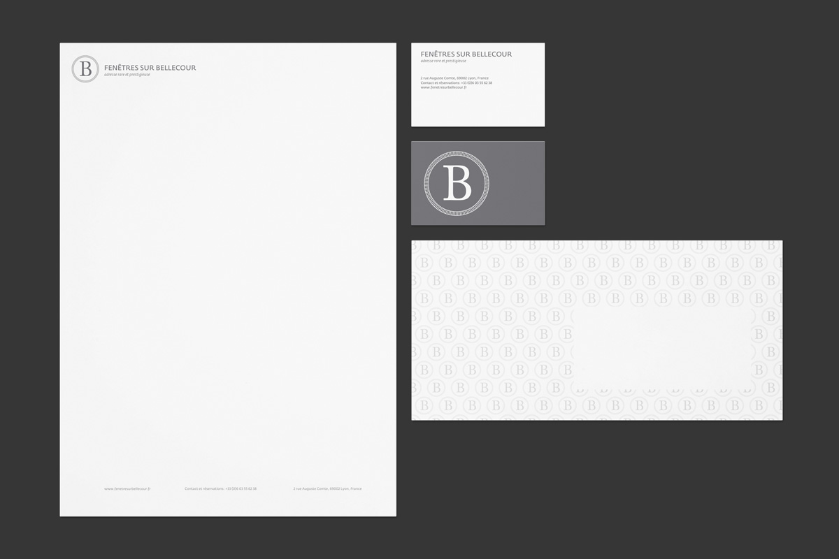 papeterie Fenêtres sur Bellecour letterhead, business cards and envelopes - Offset printing